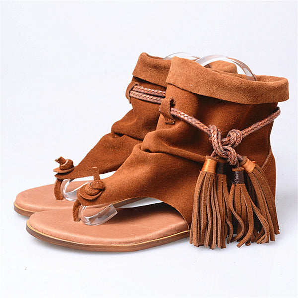 Suede Genuine Leather Lace-Up Tassels Flat Beach Shoes