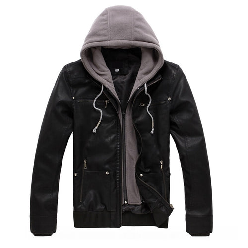 Hooded Detachable Men's Fashion Leather Motorcycle Jacket