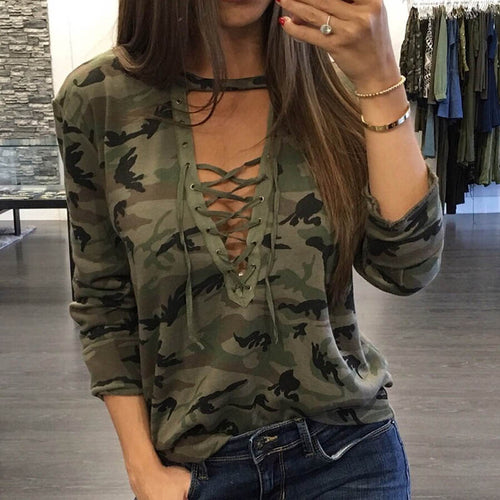 Women Camouflage Sweatshirt V-Neck Hoodies
