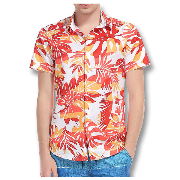 Male Casual Slim Large Size Floral Men's Tee