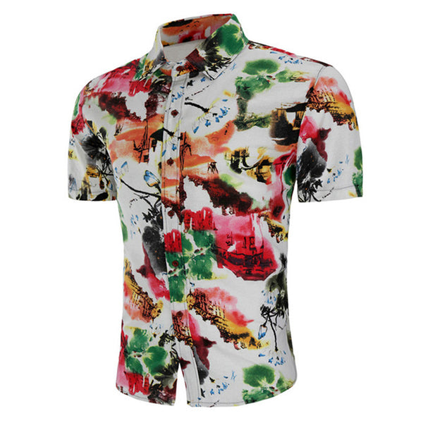 Soft Cotton Dress Flower Color Plus Size Men's Tee