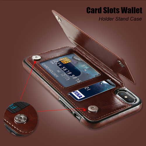 Retro PU Leather Case With Card Holders For iPhone