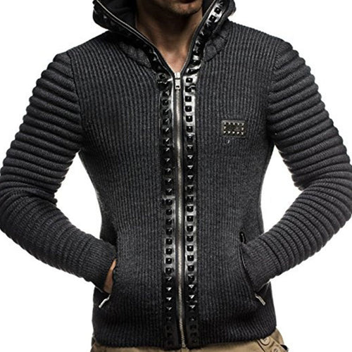 Hooded Elasticity Cotton Blends Men's Sweater