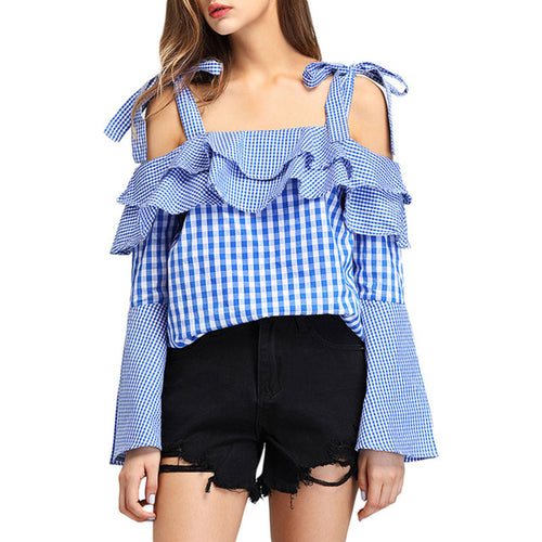 Women Checked Shoulder Flared Sleeve Top