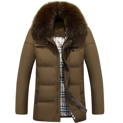 Pure Color Fur Collar Warm Men's Down Coat