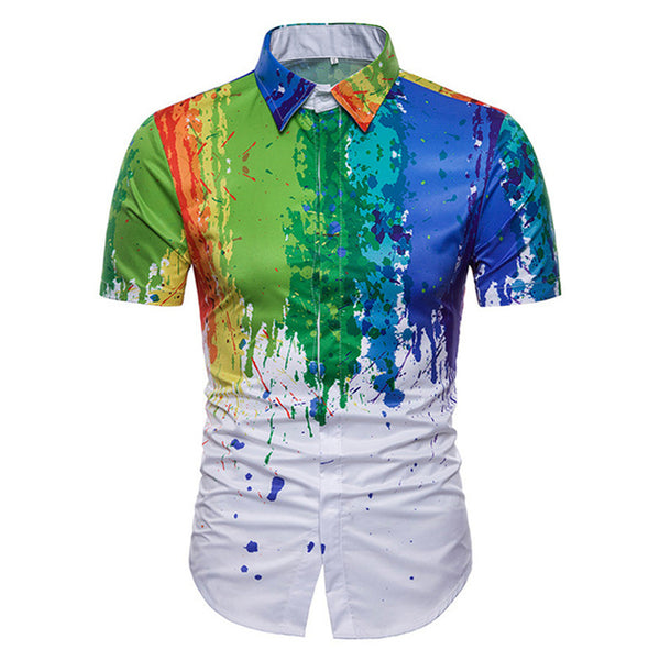 Turn Down Collar  3D Splash Paint Color Men's Tee