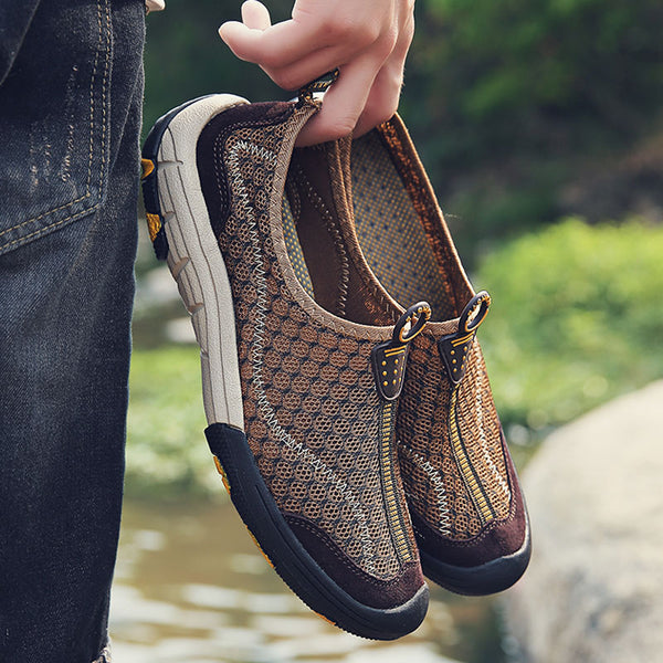 Comfortable Mesh With Leather Men's Walking Shoes
