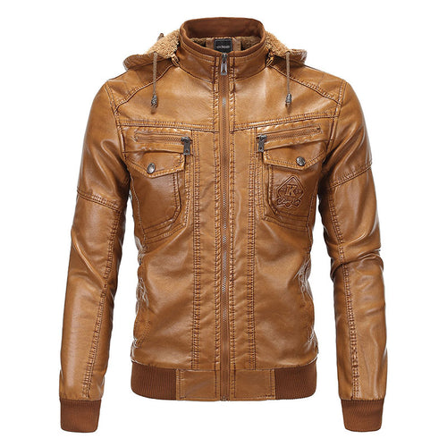 PU Hooded Stand Collar Pocket Men's Leather Coat