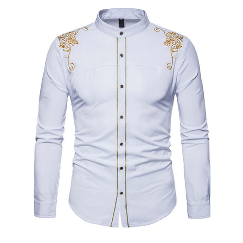 Royal Court Style Solid Floral Embroidered Men's Shirt