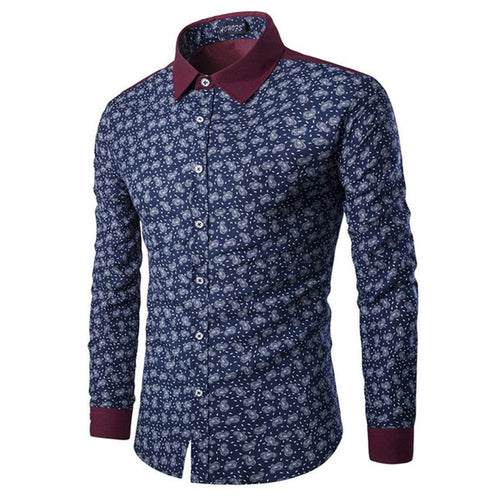 Vintage Flowers Long Sleeve Chinese Men's Shirt