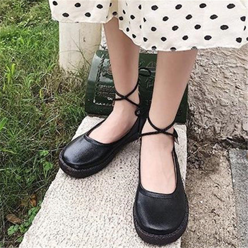 Leather Series With Peas Round Head  Women's Loafers
