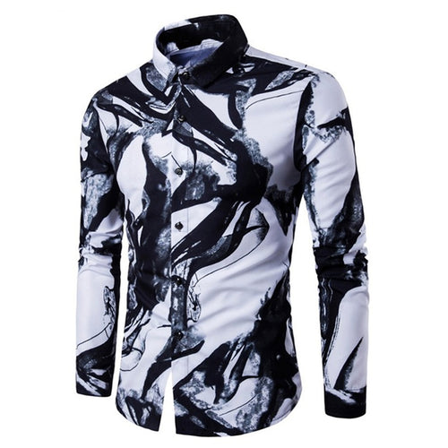 Ink Painting Printing Long Sleeve Casual Men's Shirt