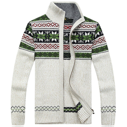 Multi-color Zip-up Stand Collar Loose Men's Sweater