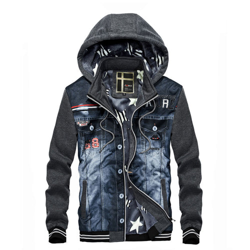 Stand Collar Printing Hit Color Patchwork Pocket Men's Hoodies