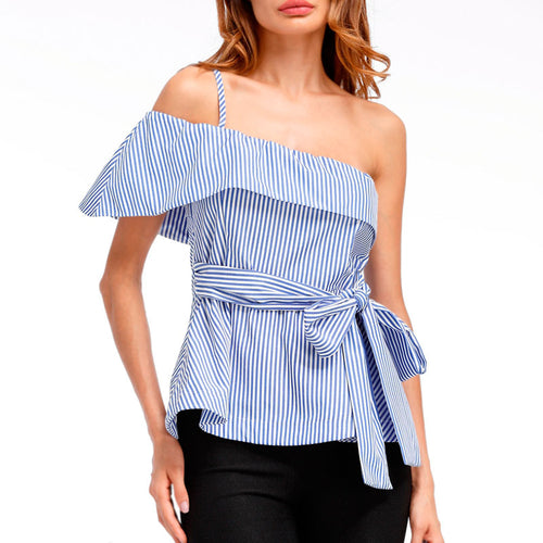 Off Shoulder Striped  Elegant Bow Tie Sleeveless Cami Top