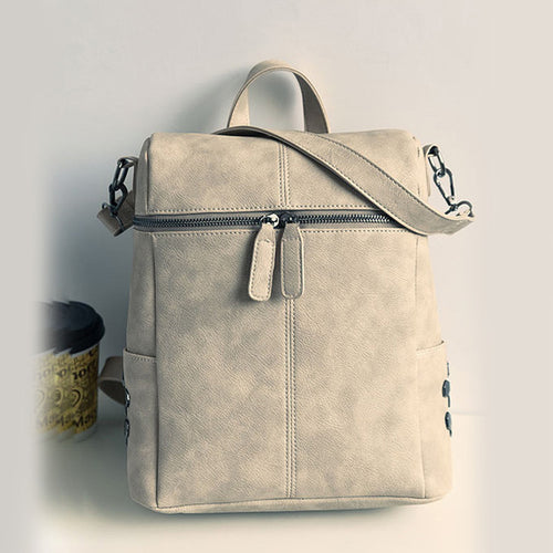 Women Fashion Simple Style Leather Backpacks