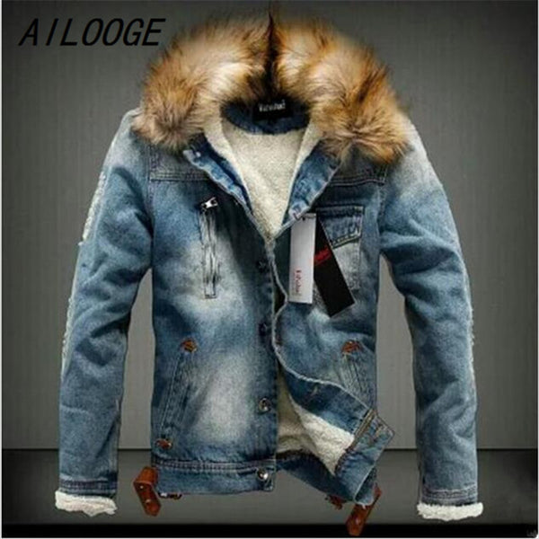 New Winter Fashion Men Woolen Denim Jacket