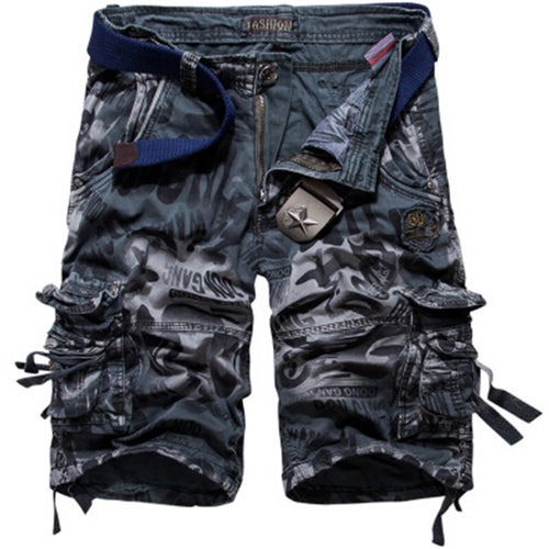Men Army Camouflage Pockets Shorts No Belt