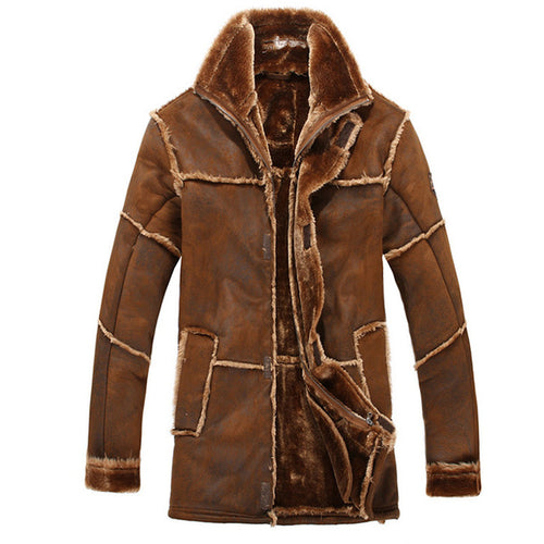 Male Fashion Thick Warm Suede Leather  Faux Fur Outwear