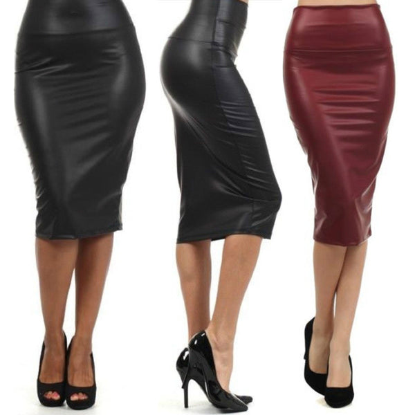 Women Plus Size Multicolor High-waist Leather Sexy Pencil Skirt
