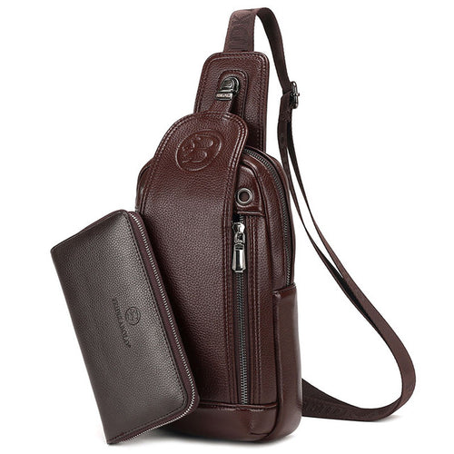 Brand Leather Men Chest Bag + Wallet
