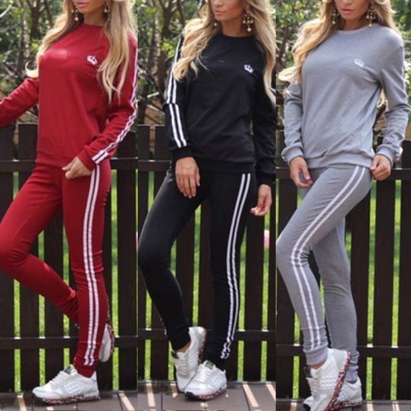Fashion 2 pcs Set Tracksuit Women Crown Printed Casual O-neck Sportwear