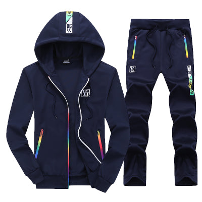 Mens Two Piece Set Hoodie Zipper Sporting Tracksuit
