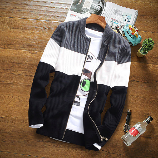 Men's Fashion Stripes Pattern Casual Sweater Jacket