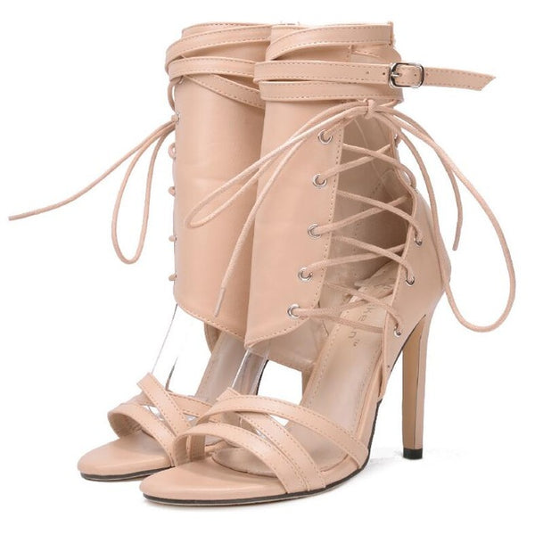 Roman Buckle Sexy Gladiator Lace Up Peep Toe Ankle boots