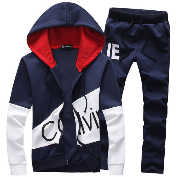 (Sweatshirt + Pants)Men 2 Pieces Set Plus Size Casual Tracksuit