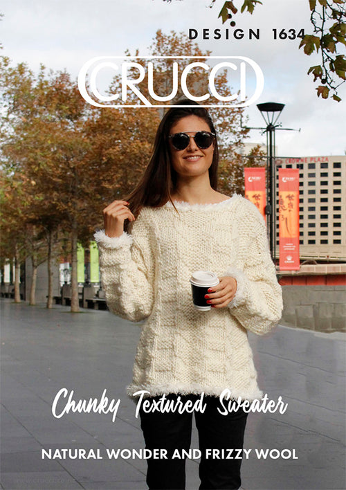 Crucci Knitting Pattern 1634 Chunky Textured Sweater - Digital
