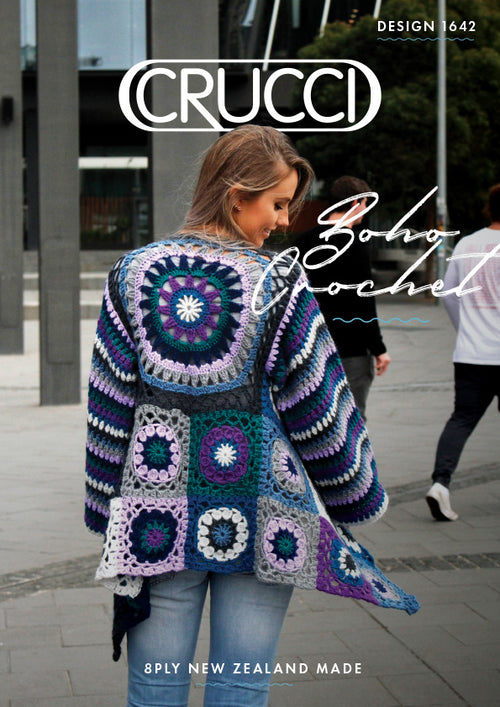 Crucci Knitting Pattern 1642 Women's Boho Crochet Jacket