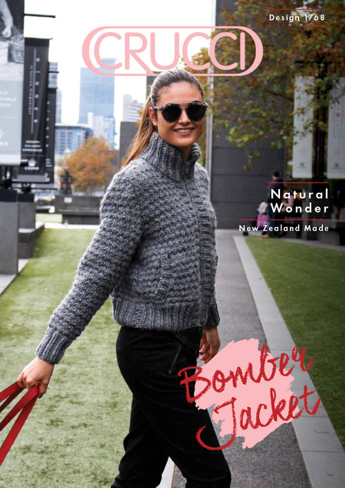 Crucci Knitting Pattern 1768 Natural Wonder Bomber Jacket - Digital