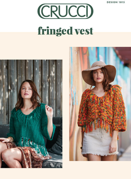 Crucci Knitting Pattern 1815 Fringed Vest - Digital