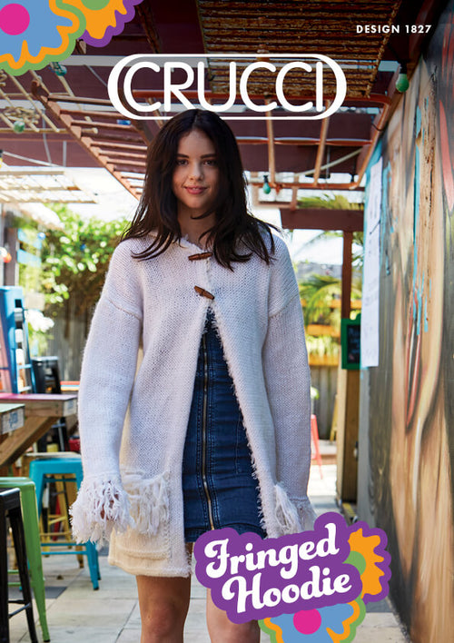 Crucci Knitting Pattern 1827 Fringed Hooded Jacket