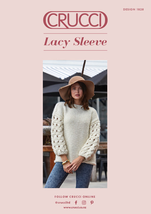 Crucci Knitting Pattern 1828 Lacy Sleeve Sweater - Digital
