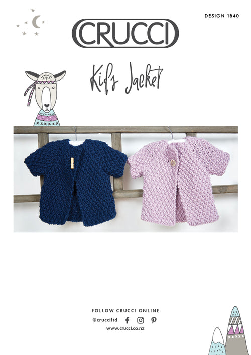 Crucci Knitting Pattern 1840 Kids Jacket - Digital