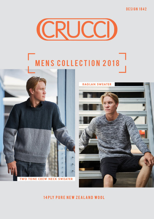 Crucci Knitting Pattern 1842 Men's Sweater 14ply
