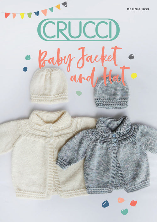 Crucci Knitting Pattern 1859 Baby Jacket & Hat