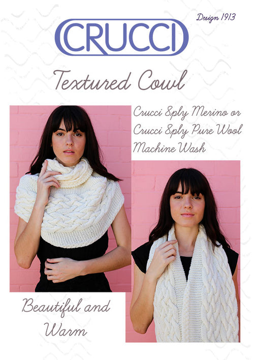Crucci Knitting Pattern 1913 Textured Cowl