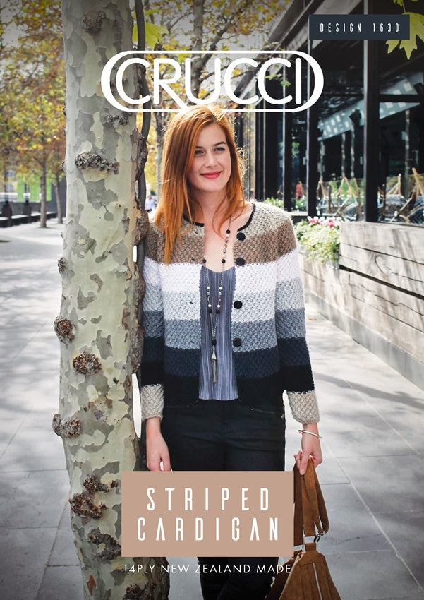 Striped Cardigan Knitting Pattern Crucci 1630 | Crucci Magic