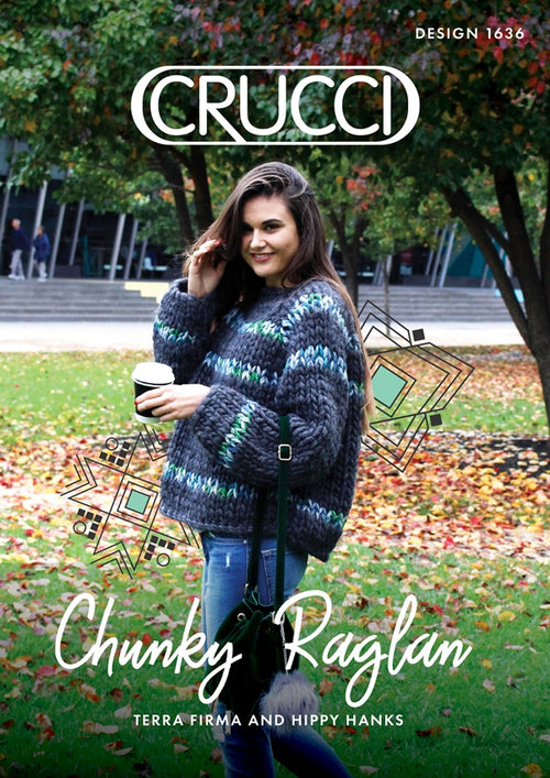 Crucci Knitting Pattern 1636 Terra Firma / Hippy Hanks Chunky Sweater