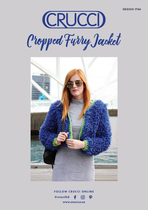 Crucci Knitting Pattern 1766 Cropped Furry Jacket