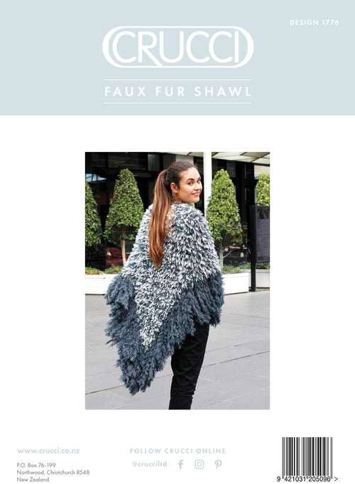 Crucci Knitting Pattern 1776 Faux Fur Shawl