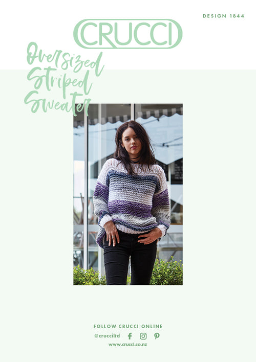 Crucci Knitting Pattern 1844 Oversized Striped Sweater - Digital