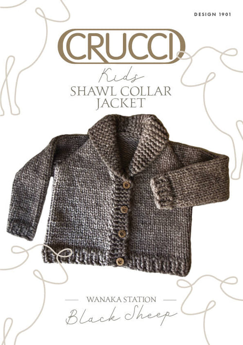 Crucci Knitting Pattern 1901 Kids Shawl Collar Jacket