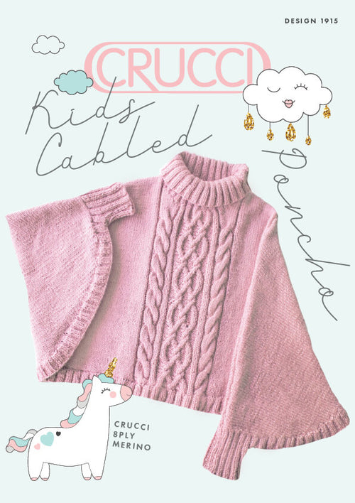 Crucci Knitting Pattern 1915 Kids Cabled Poncho - Digital