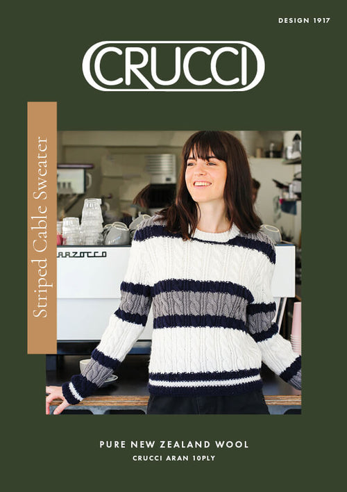 Crucci Knitting Pattern 1917 Striped Cable Sweater
