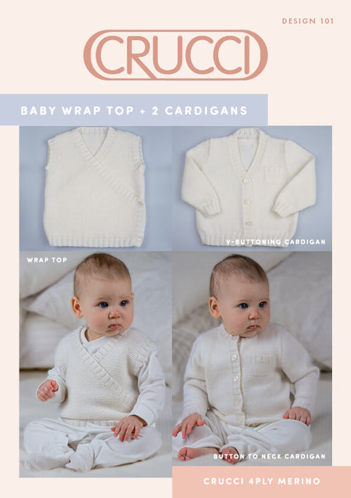 Crucci Pattern 101 Baby 4ply Wrap Top & Cardigans - Digital