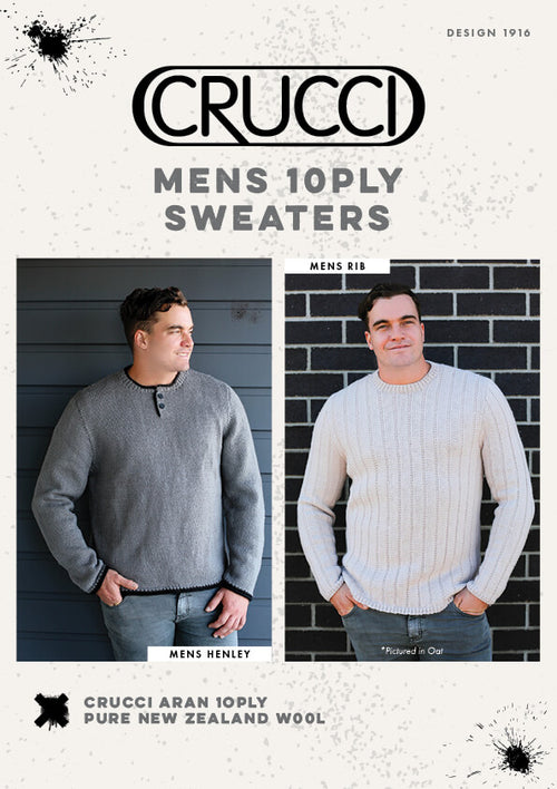 Crucci Knitting Pattern 1916 Mens 10ply Sweaters - Digital